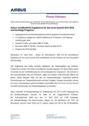 DE-Press Release: Airbus Q1 2018 Results