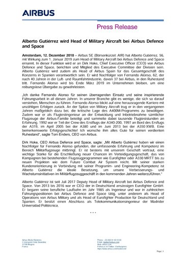 DE Press Release Appointment Alberto Gutierrez Head of Military Aircraft