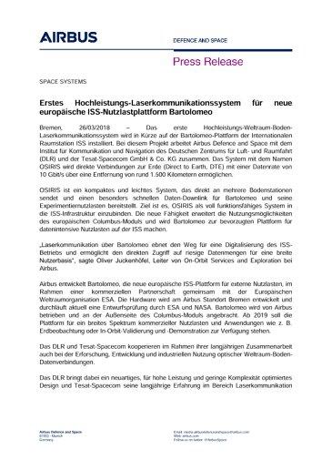 Erstes Hochleistungs-Laserkommunikationssystem für neue europäische ISS-Nutzlastplattform Bartolomeo