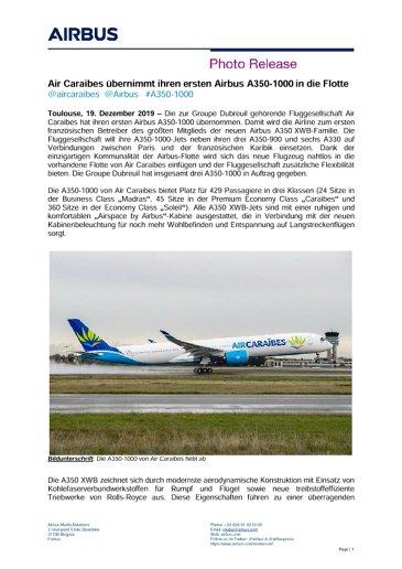 Air Caraibes übernimmt ihren ersten Airbus A350-1000 in die Flotte