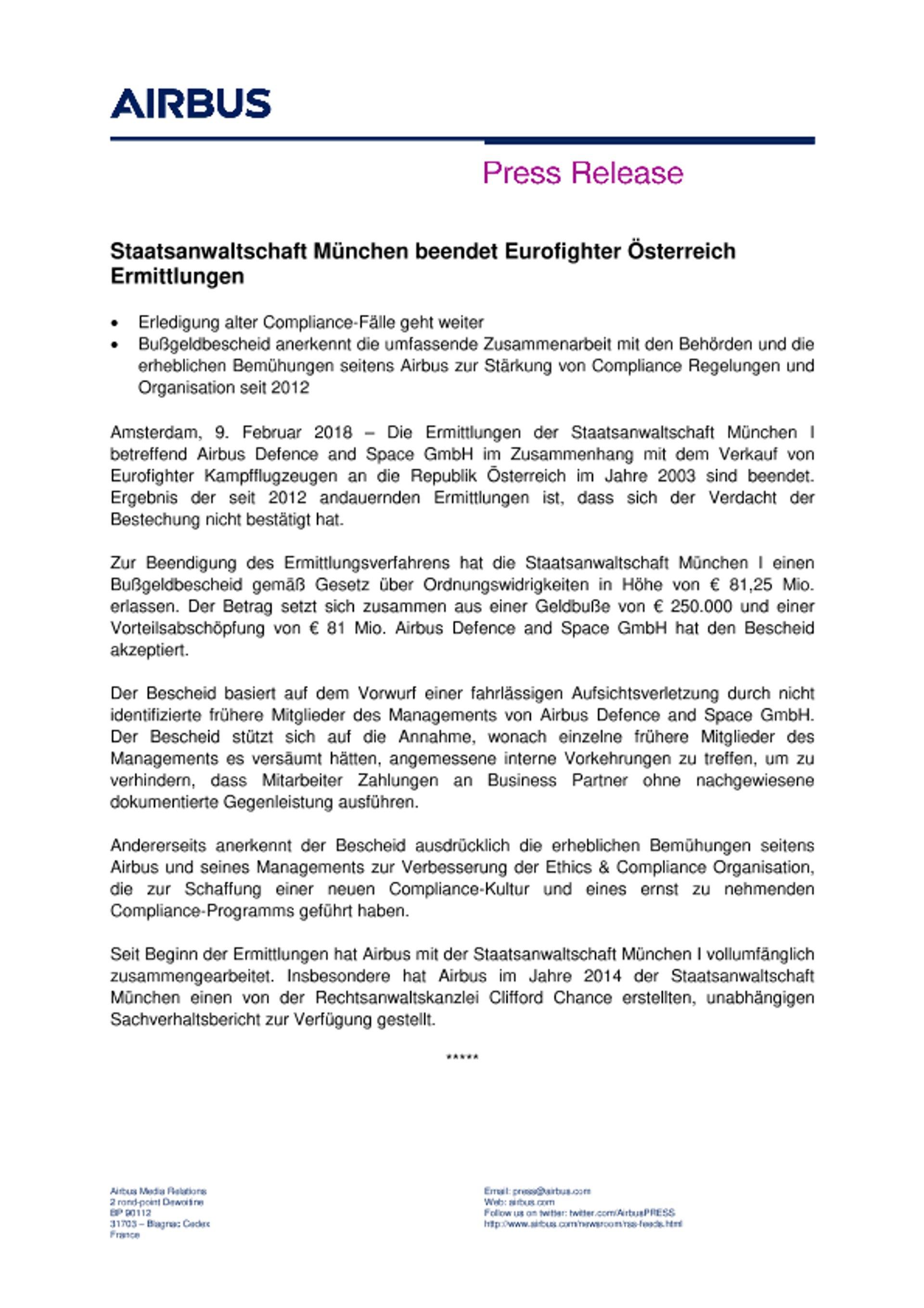 DE Press Release -  Eurofighter Austria