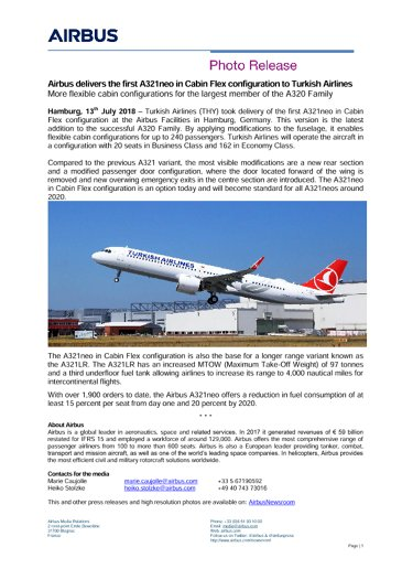 Press Release - Airbus delivers the first A321neo in Cabin Flex configuration to Turkish Airlines