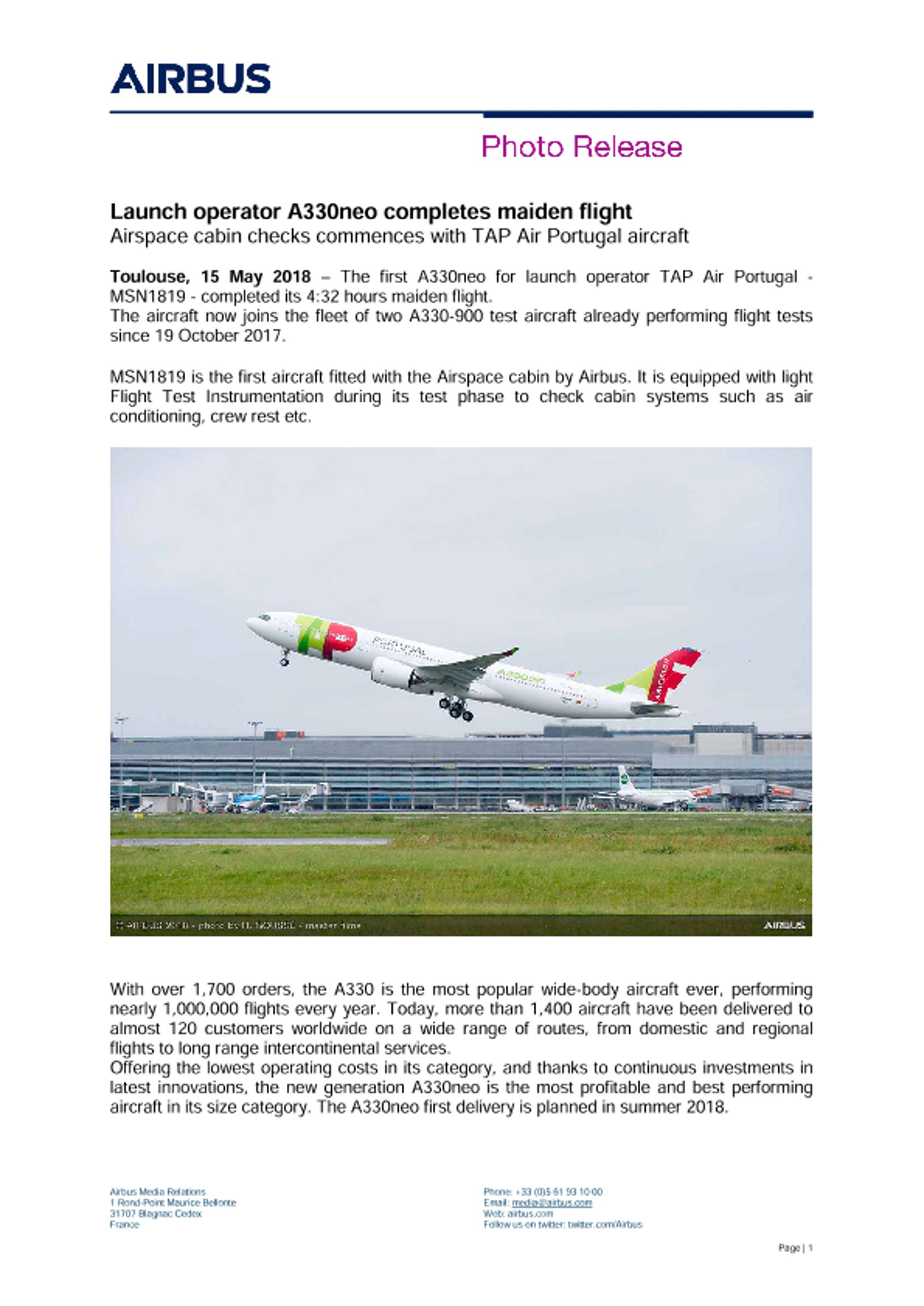 Launch operator A330neo completes maiden flight