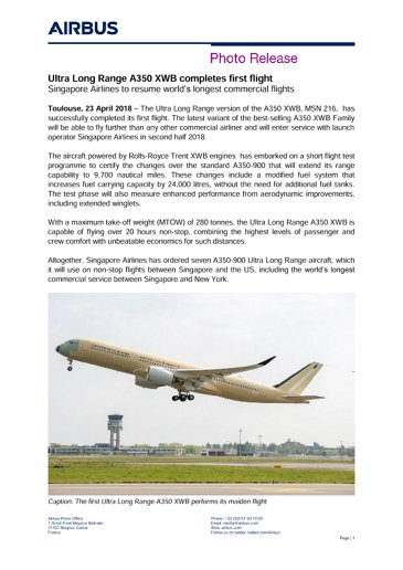 E-Ultra Long Range A350 XWB completes first flight