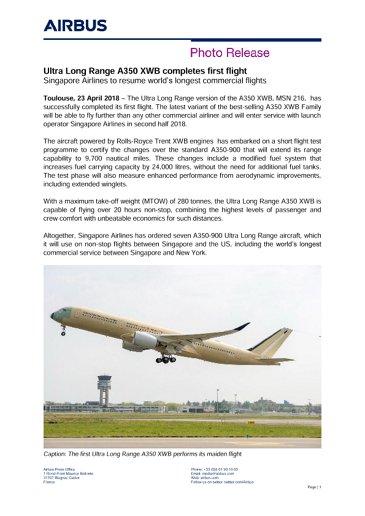 E-Ultra Long Range A350 XWB completes first flight