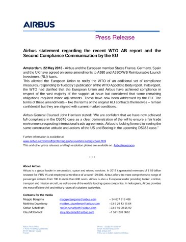 Airbus statement regarding the recent WTO AB report and the Second Compliance Communication by the EU