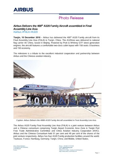 Airbus Delivers the 400th A320 Family Aircraft assembled in Final Assembly Line Asia