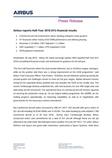 Airbus H1 2018 Results