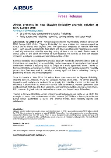 Airbus presents its new Skywise Reliability analysis solution at MRO Europe 2018