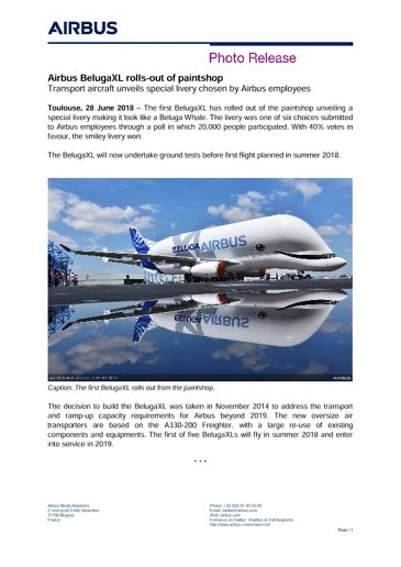 Airbus BelugaXL rolls-out of paintshop