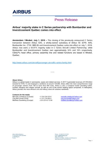 Airbus' majority stake in C Series partnership with Bombardier and Investissement Québec comes into effect
