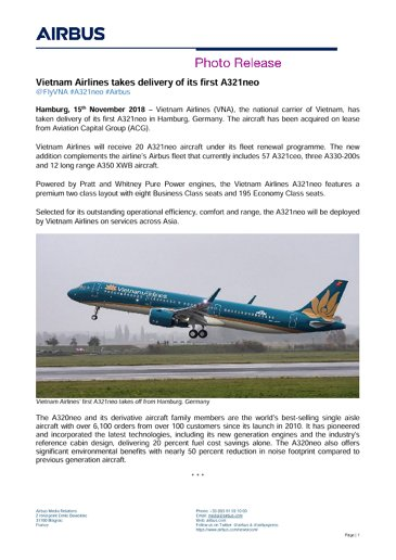 Vietnam Airlines takes delivery of its first A321neo