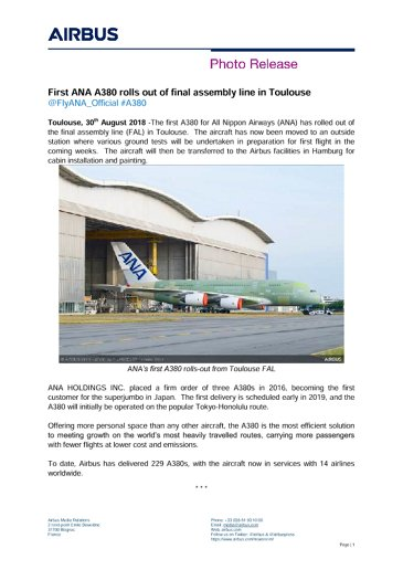 First ANA A380 rolls out of final assembly line in Toulouse