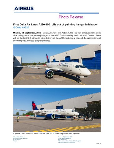First Delta Air Lines A220-100 rolls out of painting hangar in Mirabel