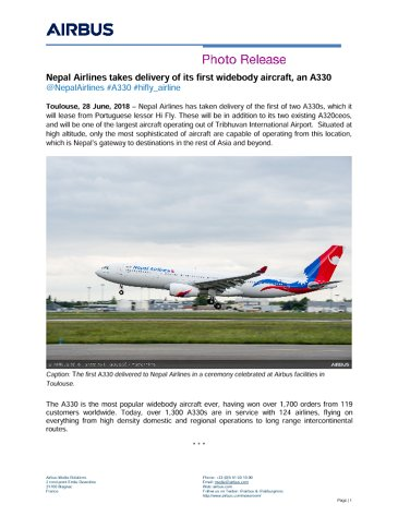 Nepal Airlines takes delivery of its first widebody aircraft, an A330