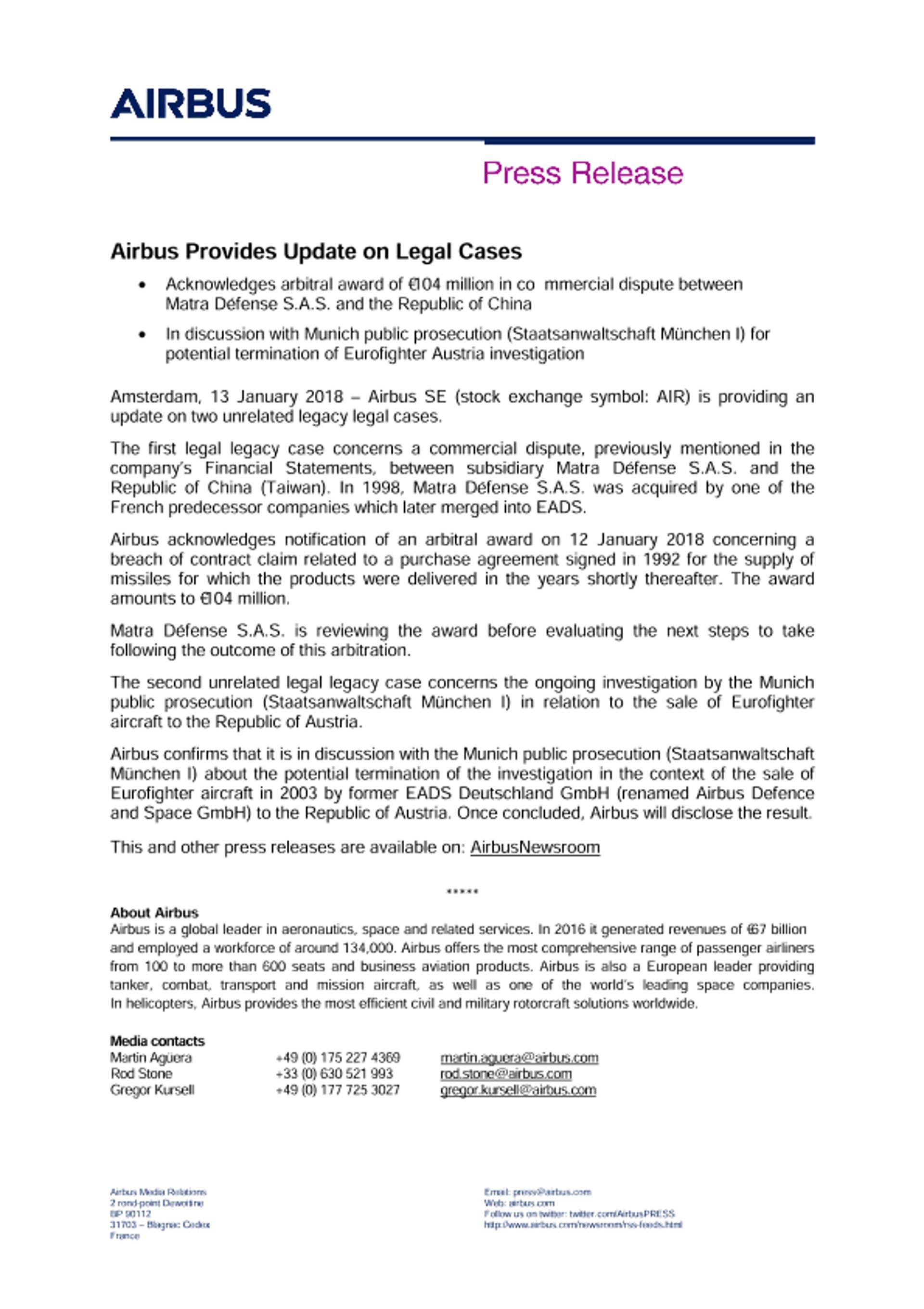 Press Release - Airbus Update on Legal Cases - EN