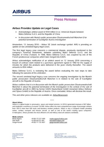 Press Release - Airbus Update on Legal Cases - EN