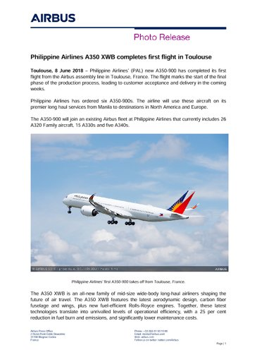 Philippine Airlines A350 XWB completes first flight in Toulouse