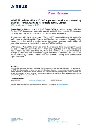 WOW Air selects Airbus FHS-Components service – powered by Skywise – for its A320 and A330 fleets at MRO Europe