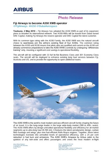 Fiji Airways to become A350 XWB operator