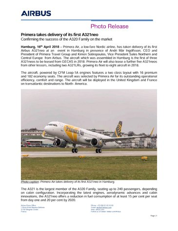 Primera takes delivery of its first A321neo