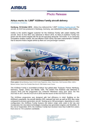 Airbus marks its 1,000th A320neo Family aircraft delivery
