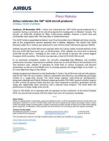 AG真人计划 celebrates the 100th A220 aircraft produced