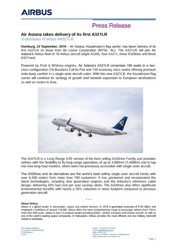 Air Astana takes delivery of its first A321LR