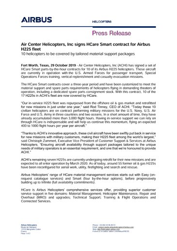 Air Center Helicopters, Inc signs HCare Smart contract for Airbus H225 fleet