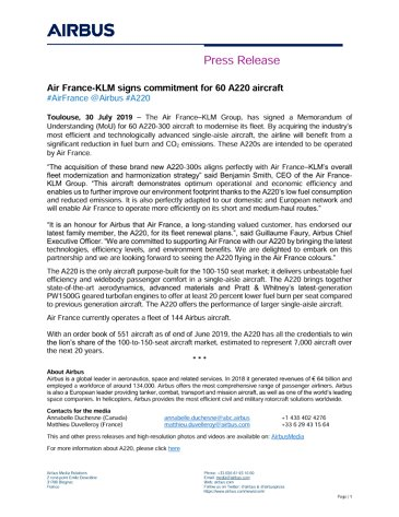 Air France-KLM signs commitment for 60 A220 aircraft