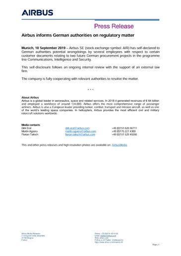 Airbus informs German authorities on regulatory matter