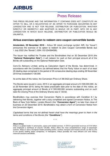Airbus exercises option to redeem zero coupon convertible bonds