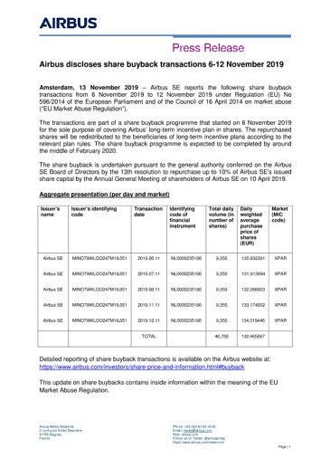 Airbus discloses share buyback transactions 6-12 November 2019