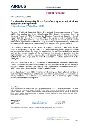 French authorities qualify Airbus CyberSecurity as security incident detection service provider