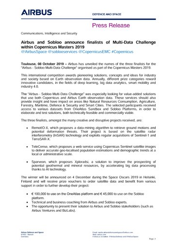 Airbus and Sobloo announce finalists of Multi-Data Challenge within Copernicus Masters 2019