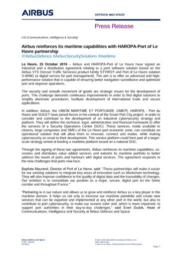 Airbus reinforces its maritime capabilities with HAROPA-Port of Le Havre partnership