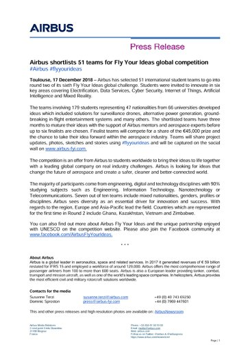 E-Airbus shortlists 51 teams for Fly Your Ideas global competition