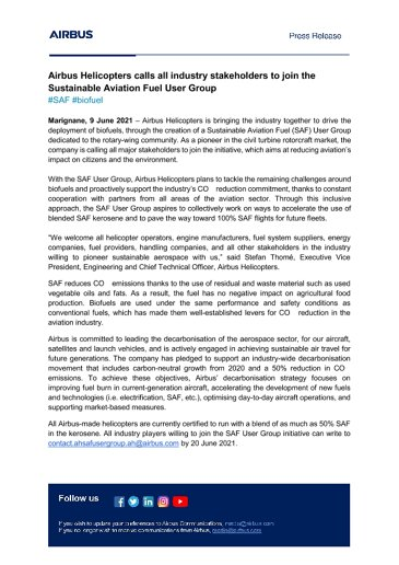 Airbus Helicopters calls all industry stakeholders to join the Sustainable Aviation Fuel User Group