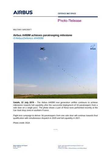 Airbus A400M achieves paratrooping milestone