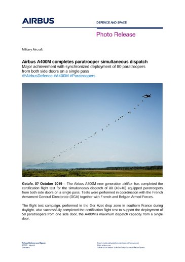 Airbus A400M completes paratrooper simultaneous dispatch