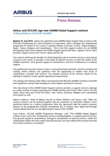Airbus and OCCAR sign new A400M Global Support contract