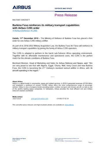 Burkina Faso reinforces its military transport capabilities
