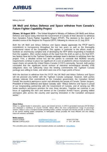 UK MoD and Airbus Defence and Space withdraw from Canada's Future Fighter Capability Project