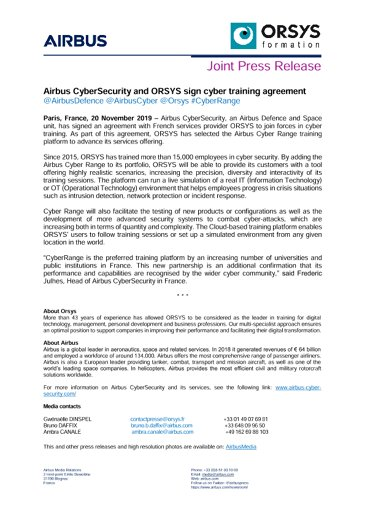 Airbus CyberSecurity and ORSYS sign cyber training agreement