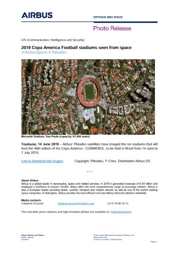 2019 Copa America Football stadiums seen from space