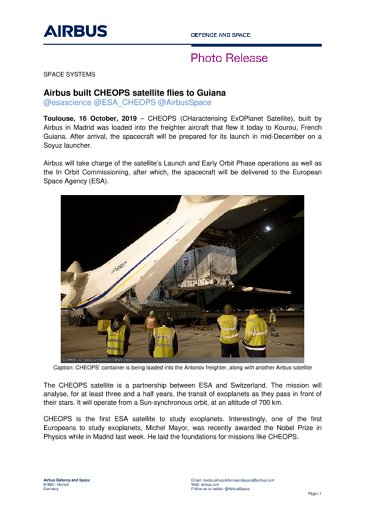 Airbus built CHEOPS satellite flies to Guiana