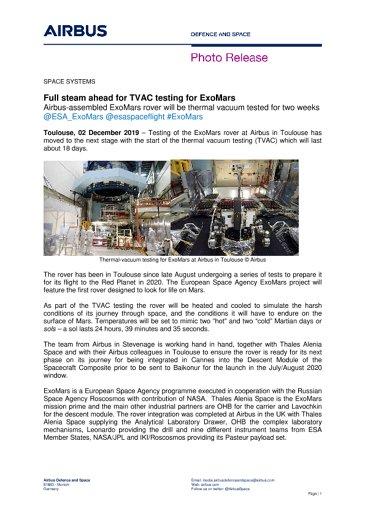 Full steam ahead for TVAC testing for ExoMars