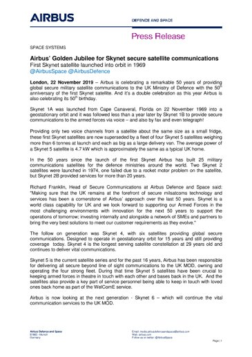 Airbus' Golden Jubilee for Skynet secure satellite communications