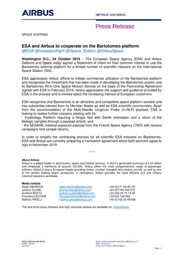 ESA and Airbus to cooperate on the Bartolomeo platform