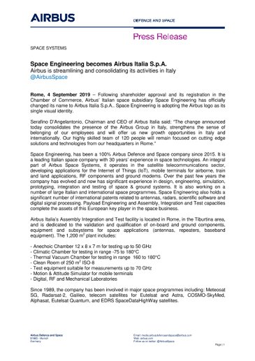 Space Engineering becomes Airbus Italia S.p.A.